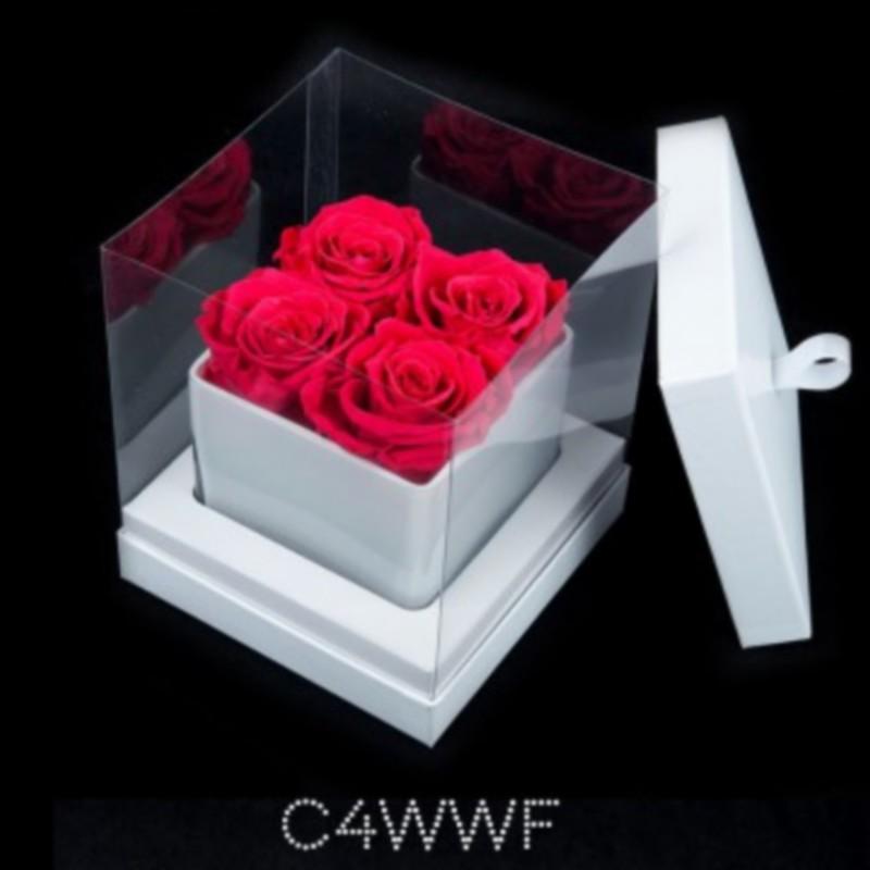 Cube Blanc 4 Roses Fushias (boîte Blanche)