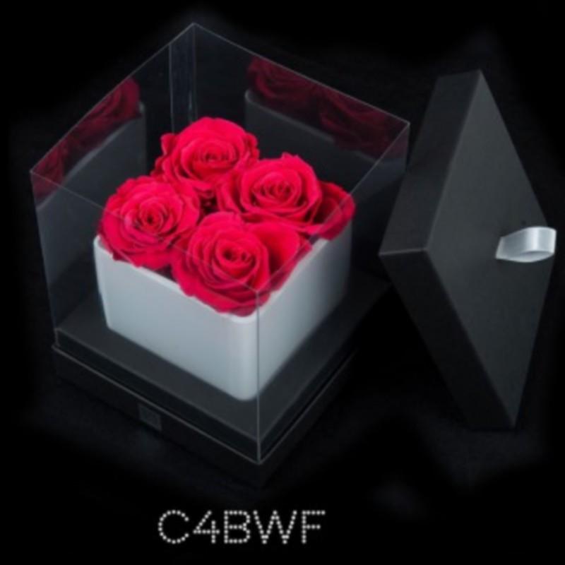 Cube Blanc 4 Roses Fushias (boîte Noire)