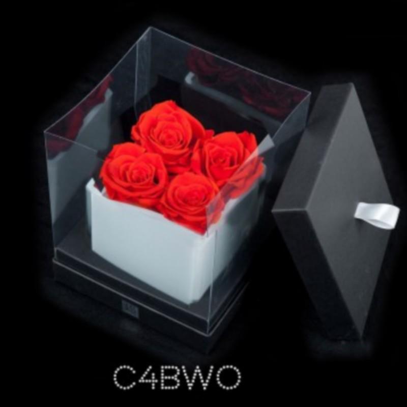 Cube Blanc 4 Roses Oranges (boîte Noire)