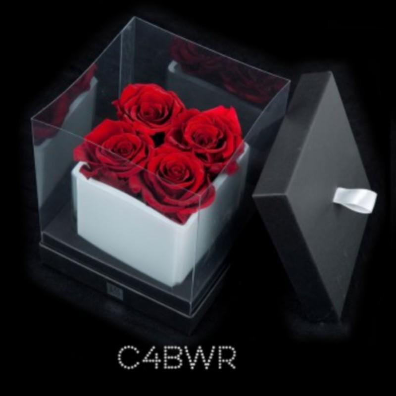 Cube Blanc 4 Roses Rouges (boîte Noire)