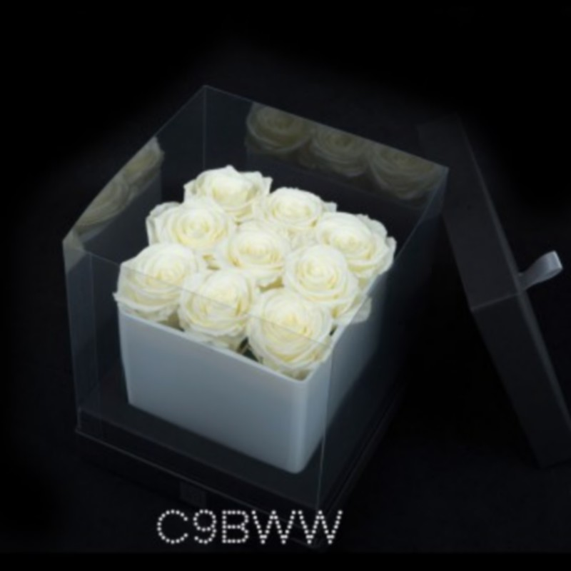 Cube Blanc 9 Roses Blanches (boîte Noire)