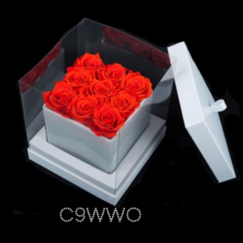 Cube Blanc 9 Roses Oranges (boîte Blanche)