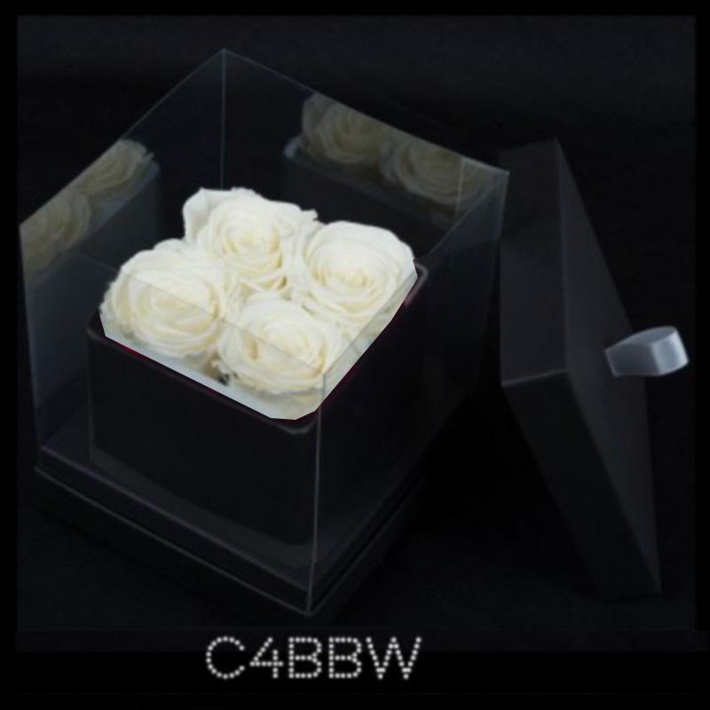 Cube Noir 4 Roses Blanches (boîte Noire)