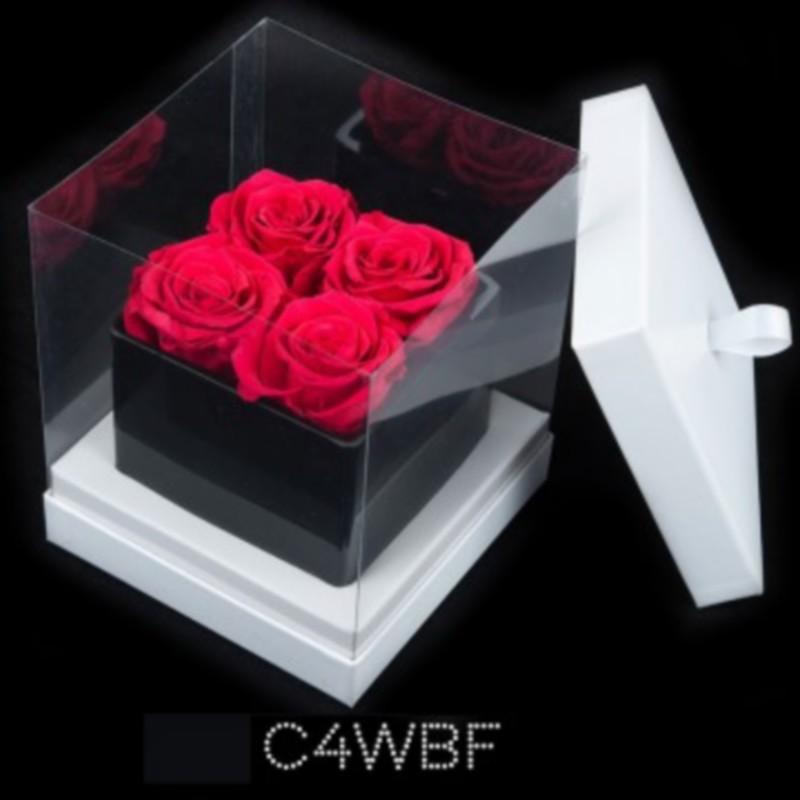 Cube Noir 4 Roses Fushias (boîte Blanche)