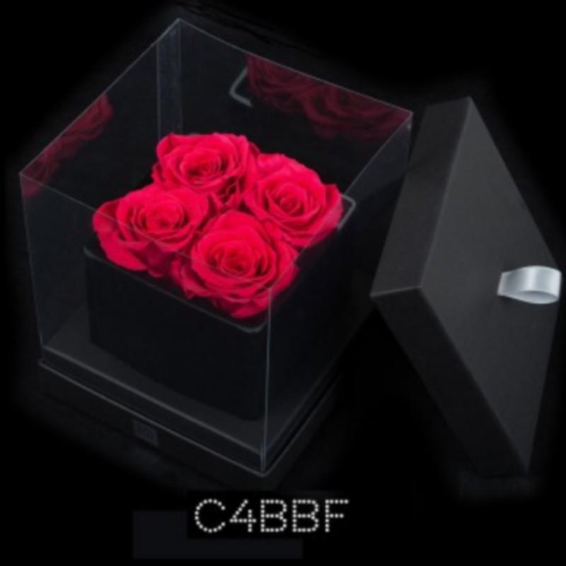 Cube Noir 4 Roses Fushias (boîte Noire)
