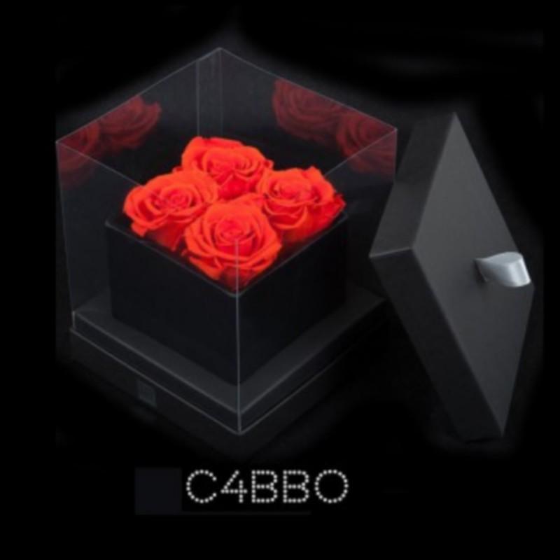 Cube Noir 4 Roses Oranges (boîte Noire)