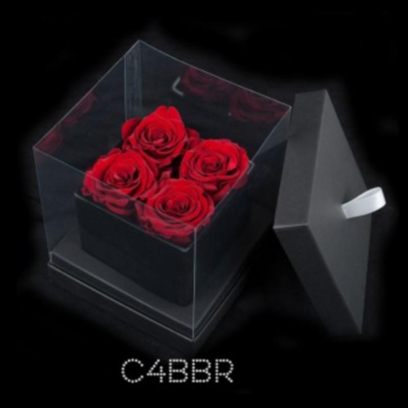 Cube Noir 4 Roses Rouges (boîte Noire)