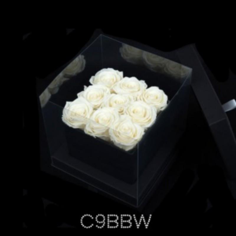 Cube Noir 9 Roses Blanches (boîte Noire)
