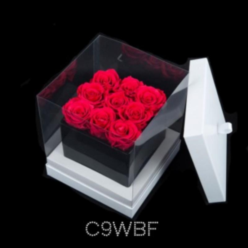 Cube Noir 9 Roses Fushias (boîte Blanche)