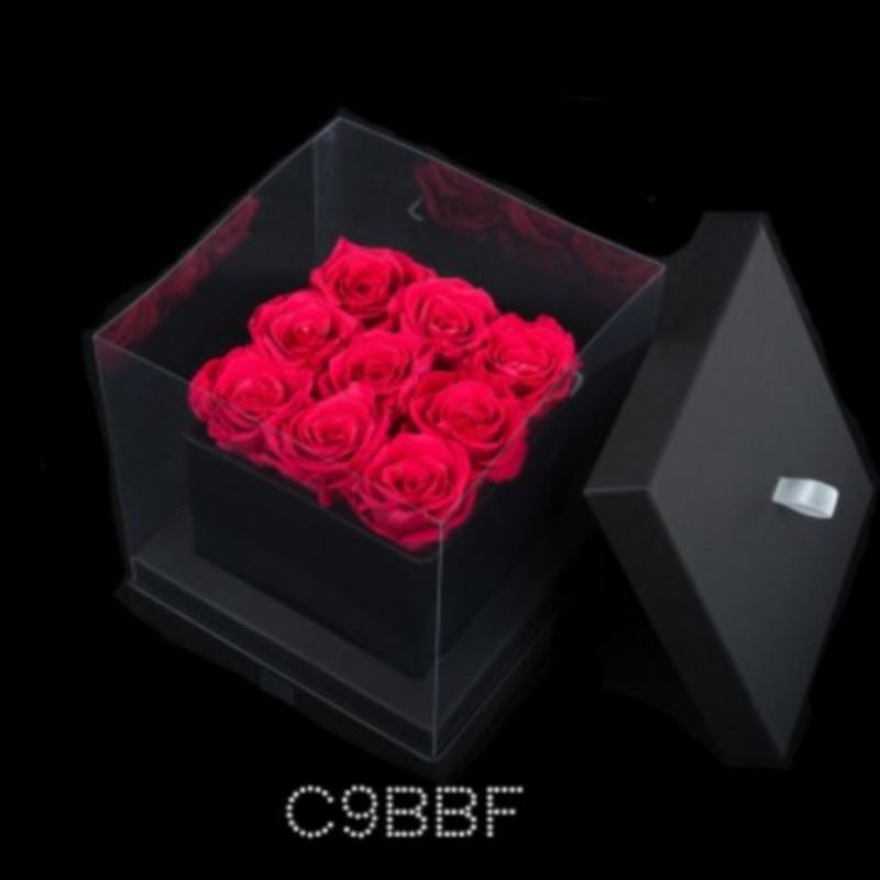 9 Fuchsia Roses Black Cube