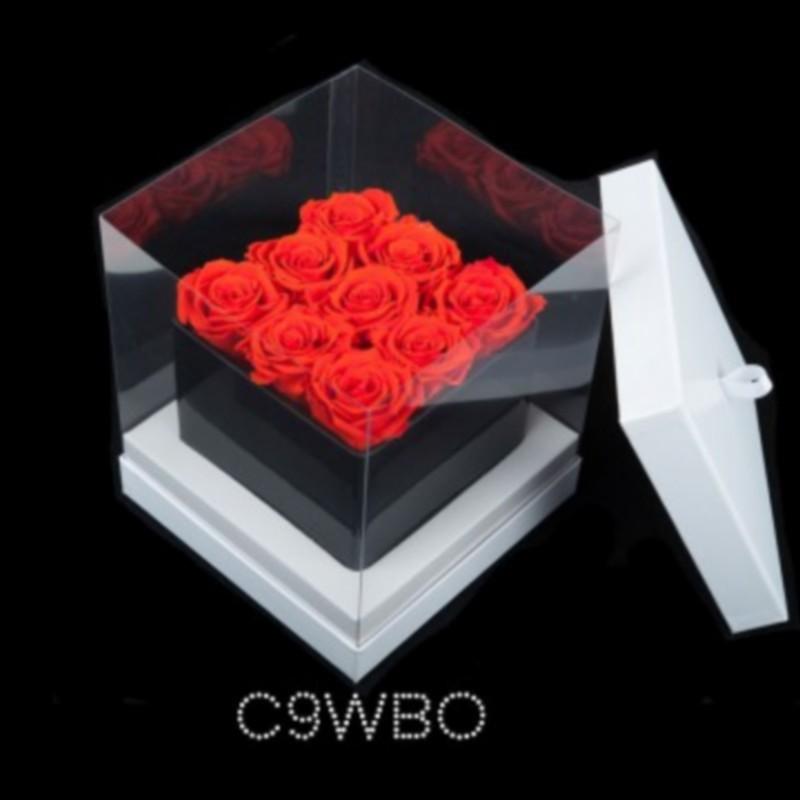 cube noir 9 roses oranges boite blanche