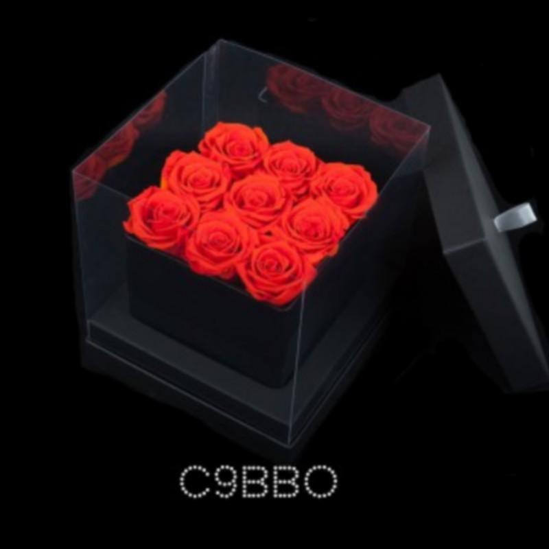 cube noir 9 roses oranges boite noire