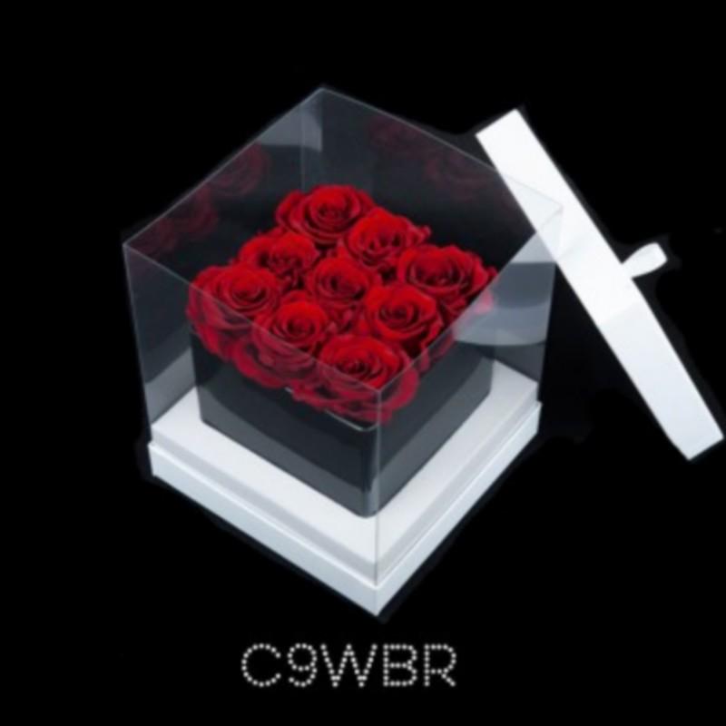 cube noir 9 roses rouges boite blanche