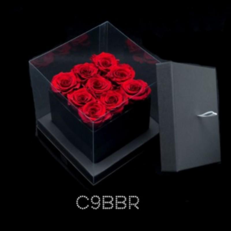 cube noir 9 roses rouges boite noire
